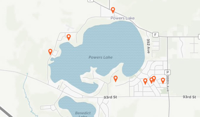 Powers Lake Map showing lakefront / lake access property currently for sale, provided by Bob Webster of Keefe Real Estate